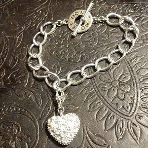 Monet Silver Heart Charm Bracelet